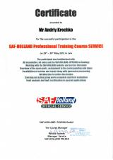 Сертификат SAF - Holland Professional Training Course Service - Кречко Андрей