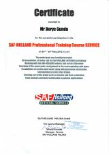 Сертификат SAF - Holland Professional Training Course Service - Гунда Борис